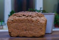 Frisches Laib des selbst gemachten Schwarzbrots mit Brotform auf Holzoberfläche Lizenzfreie Stockfotos