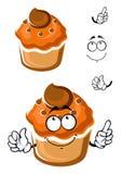 Frisches Muffin der lustigen Karikatur mit Belag Stockfoto