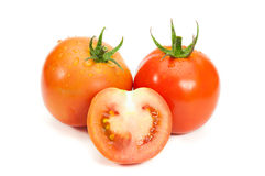 Frisches nasses Tomatengemüse lokalisiert Stockfotografie