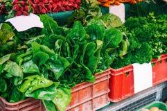 Frisches organisches Erzeugnis am lokalen Landwirtmarkt Landwirte ` Märkte sind eine traditionelle Weise des Verkaufs von Agrarpr Stockbilder
