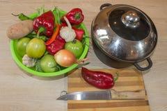 Frisches organisches Gemüse, grüne Tomate, Zwiebel, Kartoffel, grüne grüne Bohnen, Knoblauch und Pfeffer auf Tabelle Frisches org Stockbilder