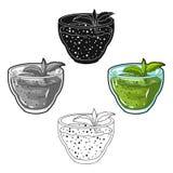 Frisches Püree von Grüns mit einem tadellosen Blatt Vegetarisches Frühstück von Grüns Vegetarische Teller sondern Ikone in der Ka vektor abbildung