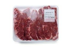 Frisches rotes Fleisch verpackte in einer Polytasche Stockbilder