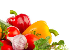 Frisches saftiges organisches Gemüse und Grüns Stockfotografie