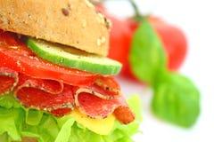Frisches Sandwich mit Salamikäse und -gemüse Lizenzfreies Stockbild