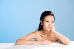 Frisches sauberes Gesicht der jungen Frau Lizenzfreies Stockfoto