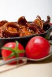 Frisches seafoos Eintopfgericht auf einer Eisenbratpfanne Stockfotos
