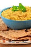 Hummus mit ganzen Korntortillabissen Stockbild
