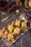 Frisches und geschmackvolles wirkliches türkisches Baklava Stockbilder