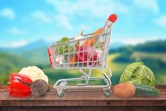 Frisches und gesundes Gemüse in einem Warenkorb auf einer Tabelle mit einer Landschaft im Hintergrund Stockbild