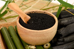 Frisches und getrocknetes Bambus- und Bambusholzkohlenpulver lizenzfreies stockbild