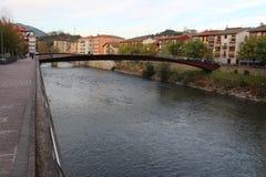 Frisches und kaltes Wasser von europäischem Fluss des langen Schwanzes Wald Stockfoto