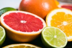 Frisches Zitrusfrucht stihli Zitronen, Kalke, Pampelmuse und Orange auf einem schwarzen Hintergrund Lizenzfreies Stockfoto