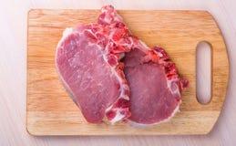 Frischfleisch des saftigen Stückes (Schweinefleisch, Rindfleisch, Lamm) Stockfotos