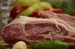 Frischfleisch mit Gemüse und Gewürzen Lizenzfreie Stockfotografie