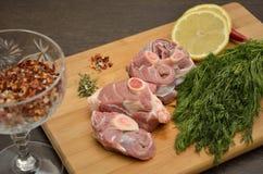Frischfleisch mit Gemüse und Gewürzen Lizenzfreie Stockfotos