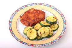 Frischfleisch mit Zucchini Stockbilder
