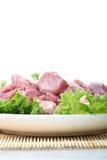 Frischfleisch und grünes Gemüse Stockbilder