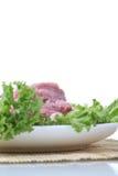 Frischfleisch und grünes Gemüse Lizenzfreie Stockfotos