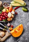 Frischgemüse der Ernte auf Betondecke Herbst stockfoto