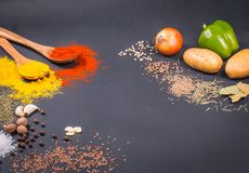 Frischgemüse, Gewürze und Kräuter zerstreuten auf dunklen Hintergrund Organische Produkte stockfotografie