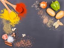 Frischgemüse, Gewürze und Kräuter zerstreuten auf dunklen Hintergrund Organische Produkte lizenzfreies stockfoto