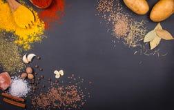 Frischgemüse, Gewürze und Kräuter zerstreuten auf dunklen Hintergrund Organische Produkte kopieren Sie Platz für Ihren Text stockfotos