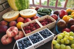 Frischgemüse und Früchte vom Markt auf dem grauen Hintergrund Sommer und gesundes Lebenkonzept Lizenzfreies Stockbild