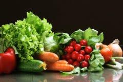 Frischgemüsefrüchte und andere Nahrungsmittel. Stockbild