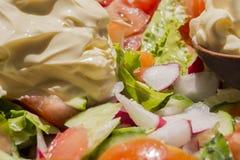 Frischgemüsefrühlingssalat mit Majonäse lizenzfreie stockfotos