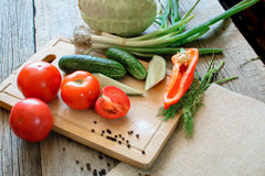 Frischgemüsetomaten, Gurke, Paprikapfeffer, Dill auf hölzernem Hintergrund Im Freien, im Garten, auf dem Bauernhof S lizenzfreies stockbild