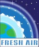 Frischluft eco Logo in der flachen Art Modernes Design des Logos Emblem, Fahne, Aufkleber, Ikone Vektor auf Lager Lizenzfreies Stockfoto