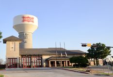 Frisco Texas Water Tower and Fire Station, Frisco, Texas. Frisco is a city in Collin and Denton counties in Texas. It is part of the Dallas-Fort Worth metroplex royalty free stock photo