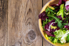 Frise, batavian, radichchio, arugula in a ceramic bowl on a wood Stock Photography