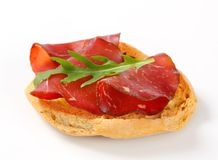 Friselle bread with smoked beef Stock Photos