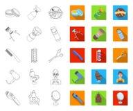 Frisersalong- och utrustningöversikt, plana symboler i den fastställda samlingen för design Reng?ringsduk f?r materiel f?r frisyr vektor illustrationer