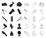 Frisersalong- och utrustningsvart, översiktssymboler i den fastställda samlingen för design Rengöringsduk för materiel för frisyr vektor illustrationer