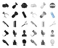 Frisersalong- och utrustningsvart mono symboler i den fastst?llda samlingen f?r design Reng?ringsduk f?r materiel f?r frisyr- och vektor illustrationer