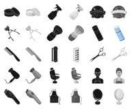 Frisersalong- och utrustningsvart, monokromma symboler i den fastställda samlingen för design Rengöringsduk för materiel för fris stock illustrationer