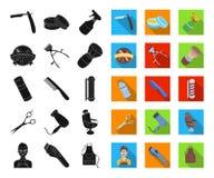 Frisersalong- och utrustningsvart, plana symboler i den fastställda samlingen för design Rengöringsduk för materiel för frisyr- o vektor illustrationer