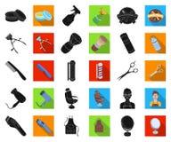 Frisersalong- och utrustningsvart, plana symboler i den fastställda samlingen för design Rengöringsduk för materiel för frisyr- o stock illustrationer