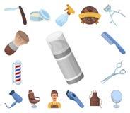 Frisersalong- och utrustningtecknad filmsymboler i uppsättningsamlingen för design Rengöringsduk för materiel för frisyr- och rak vektor illustrationer