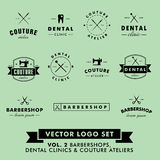 Frisersalong, sömnadAtelier och tand- klinikvektor Logo Set Fotografering för Bildbyråer