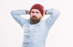 Frisersalongbegrepp Man som upps?kas med brutalt manligt utseende f?r mustasch Hipsterstil och mode Upps?kt Hipster arkivbilder