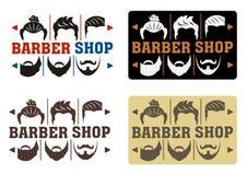 Frisersalonglogo med fyra alternativ i modern stil Idé av manöverenheten med ett val av frisyrer och skägg För etikett emblem, Si vektor illustrationer