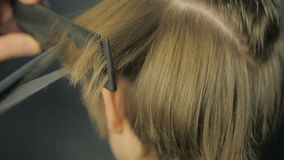 Friseur, der einen Haarschnitt mit Scheren tut stock video