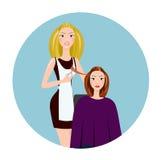 Friseur, der Haarschnitt bildet Friseur in einem Friseursalon Stockfotografie