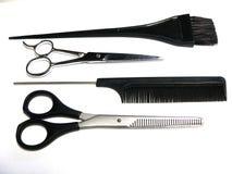 Friseurarbeitswerkzeuge Stockfoto