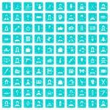 100 Friseurikonen stellten Schmutz blau ein Stockfotos