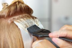Friseursalon. Färbung. Lizenzfreies Stockfoto
